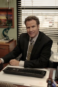DeAngelo Vickers as played by Will Ferrell Smiling in at his desk in his new office