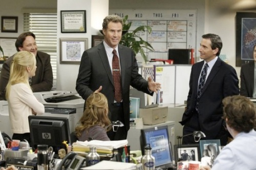 Will Ferrell excitedly talking with the rest of The Office crew