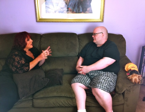 Ruby Gettinger talking with Barry Roskin Blake