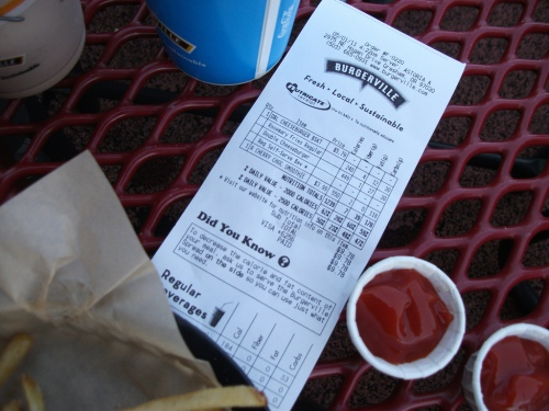Restaurant Nutritional Information displayed on the receipt